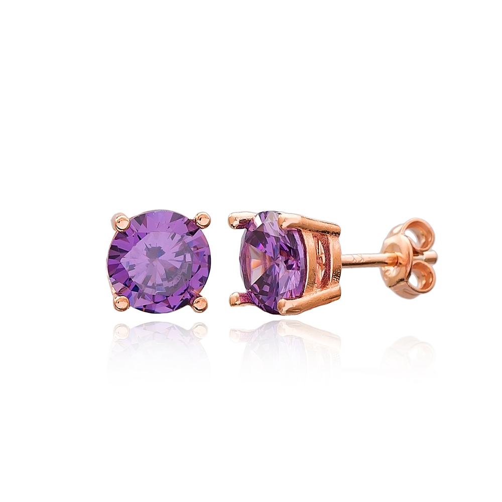 Amethyst Stone Solitaire Stud Silver Earring Wholesale 925 Sterling Silver Jewelry