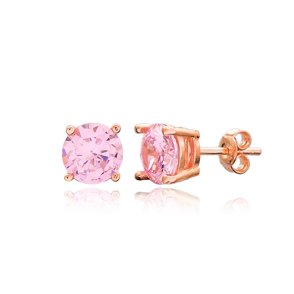 Pink Zircon Stone Solitaire Stud Silver Earring Wholesale 925 Sterling Silver Jewelry