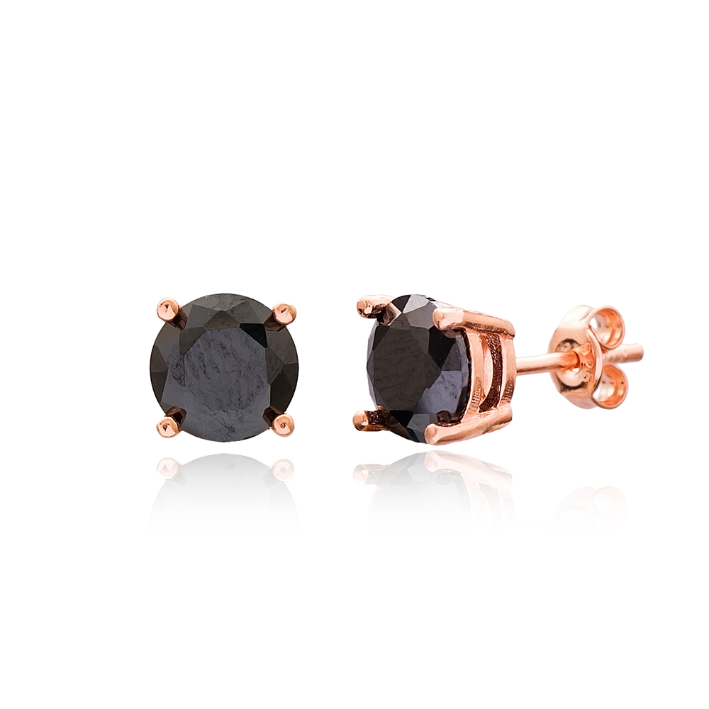Black Stone Solitaire Stud Silver Earring Wholesale 925 Sterling Silver Jewelry