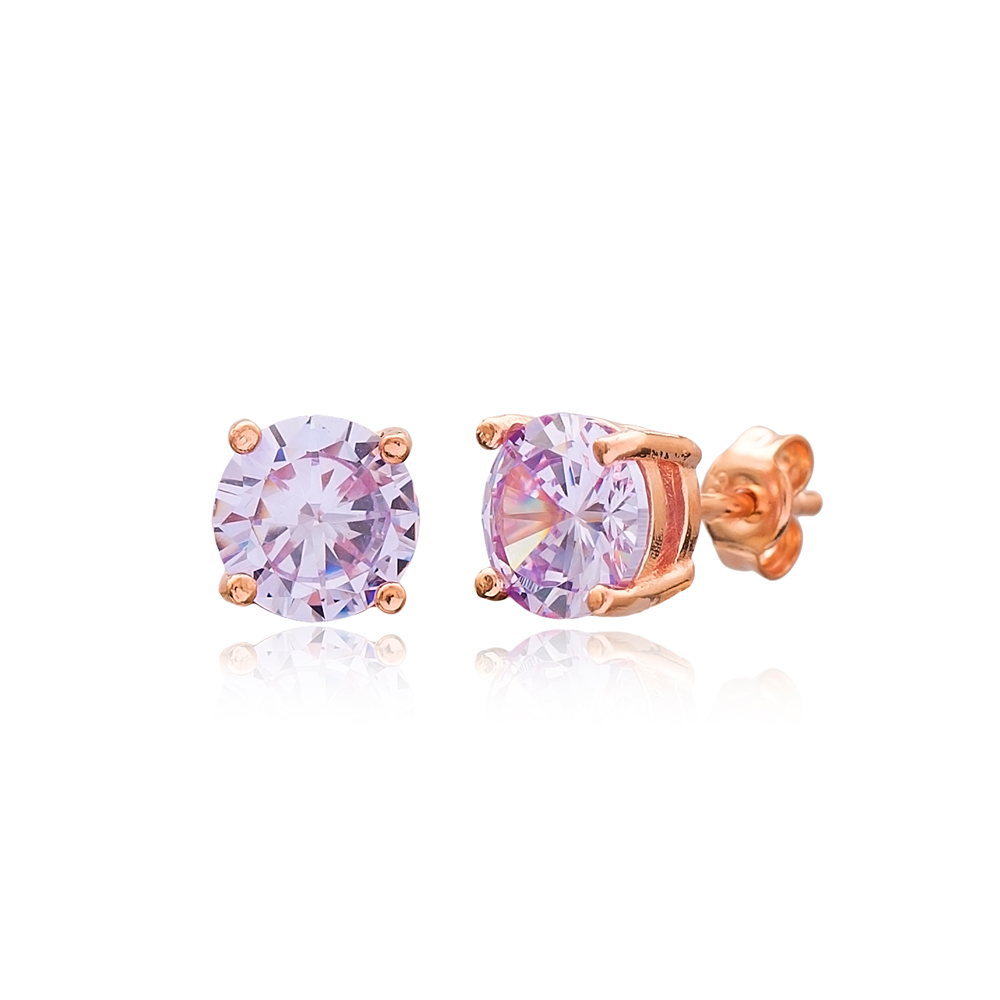 Pink Stone Solitaire Stud Silver Earring Wholesale 925 Sterling Silver Jewelry