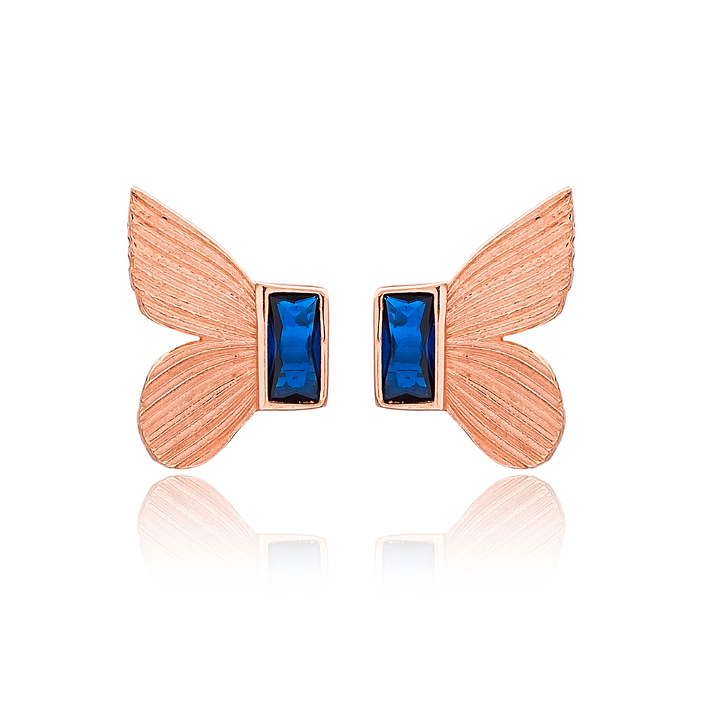 Butterfly Design Sapphire Stone Stud Earrings Turkish Handmade Wholesale 925 Sterling Silver Jewelry