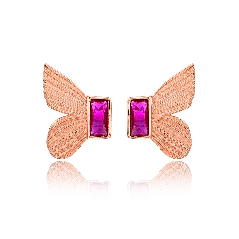 Butterfly Design Ruby Stone Stud Earrings Turkish Handmade Wholesale 925 Sterling Silver Jewelry