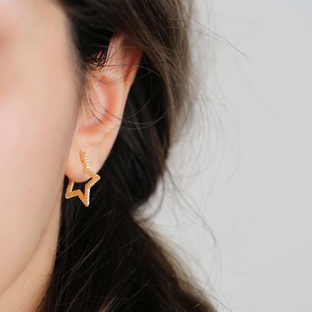 Trendy Star Stud Earrings Turkish Handmade Wholesale 925 Sterling Silver Jewelry