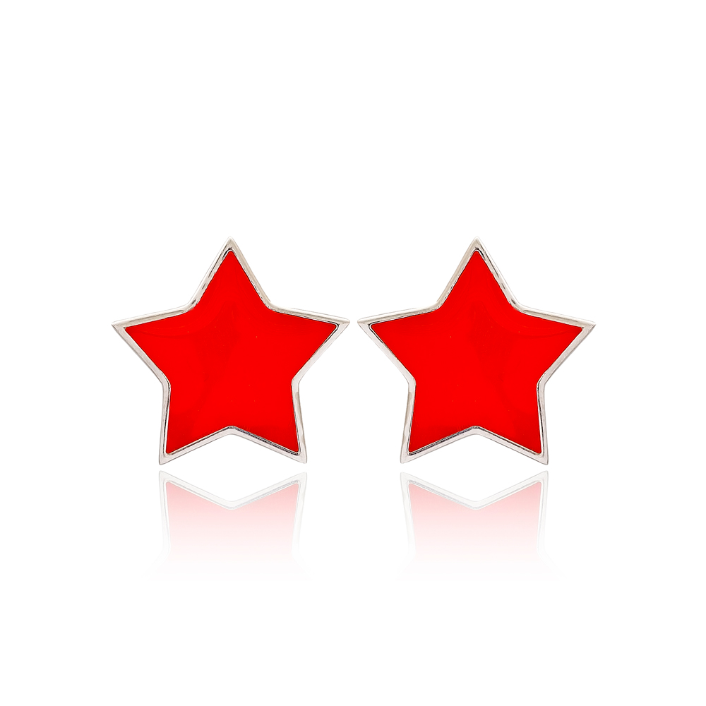 Red Enamel Star Design Stud Earrings Turkish Handmade Wholesale 925 Sterling Silver Jewelry