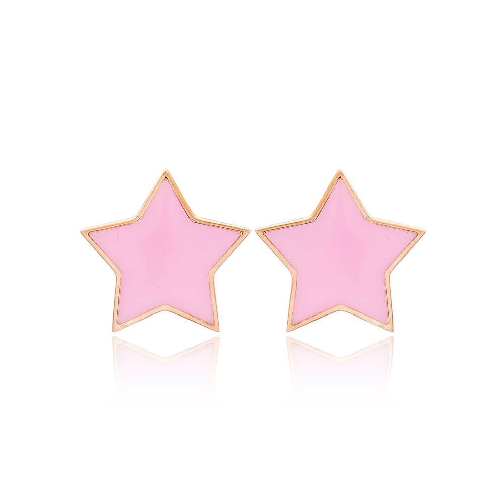 Pink Enamel Star Design Stud Earrings Turkish Handmade Wholesale 925 Sterling Silver Jewelry