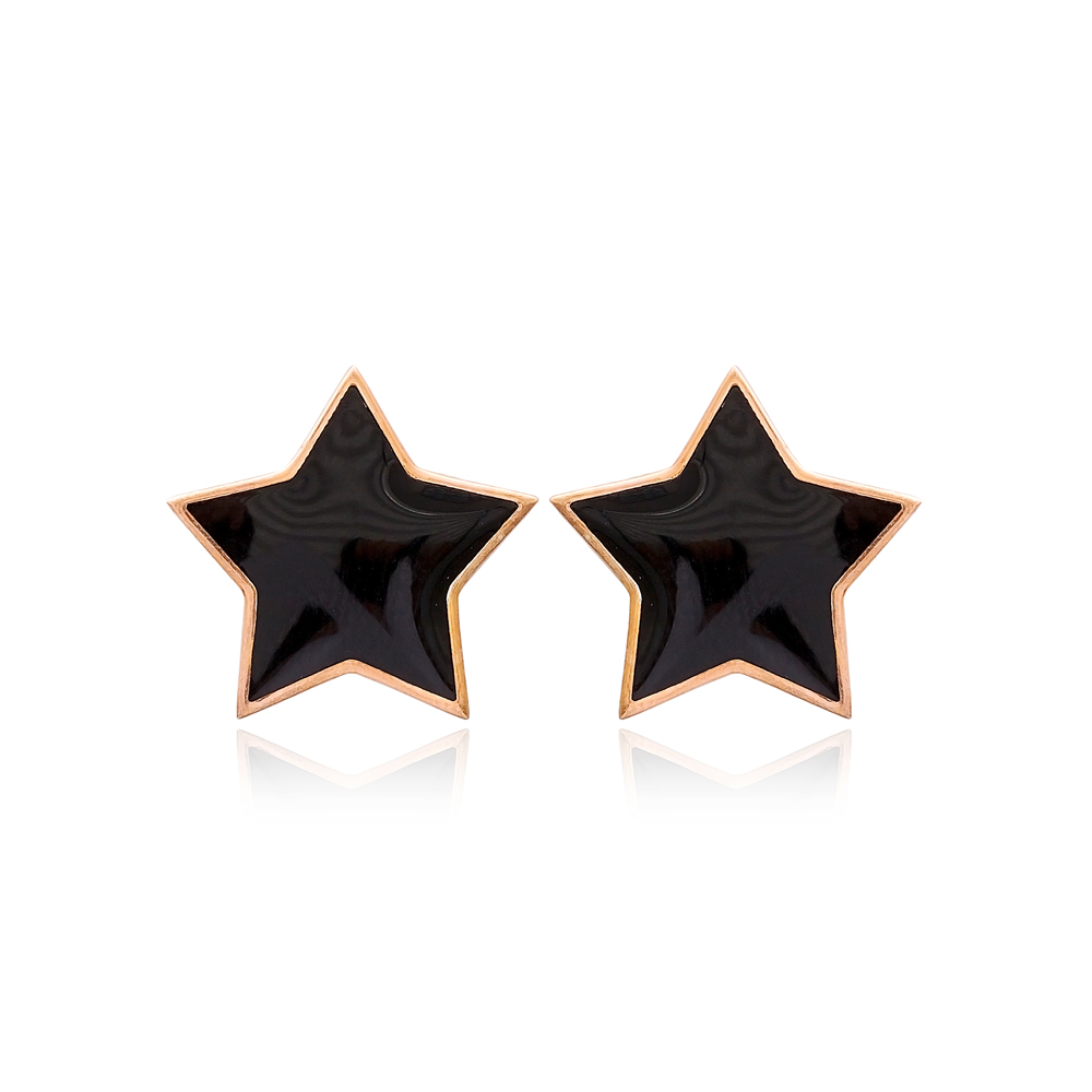 Black Enamel Star Design Stud Earrings Turkish Handmade Wholesale 925 Sterling Silver Jewelry