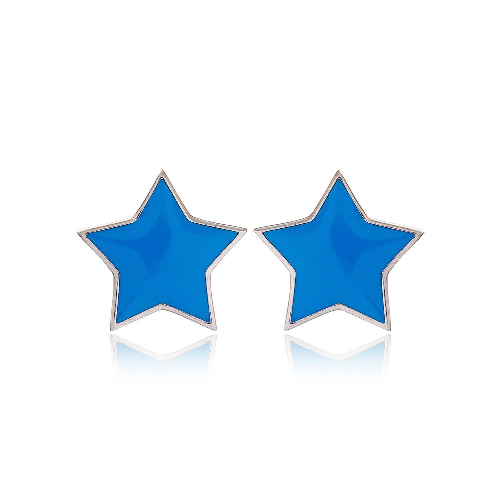 Blue Enamel Star Design Stud Earrings Turkish Handmade Wholesale 925 Sterling Silver Jewelry
