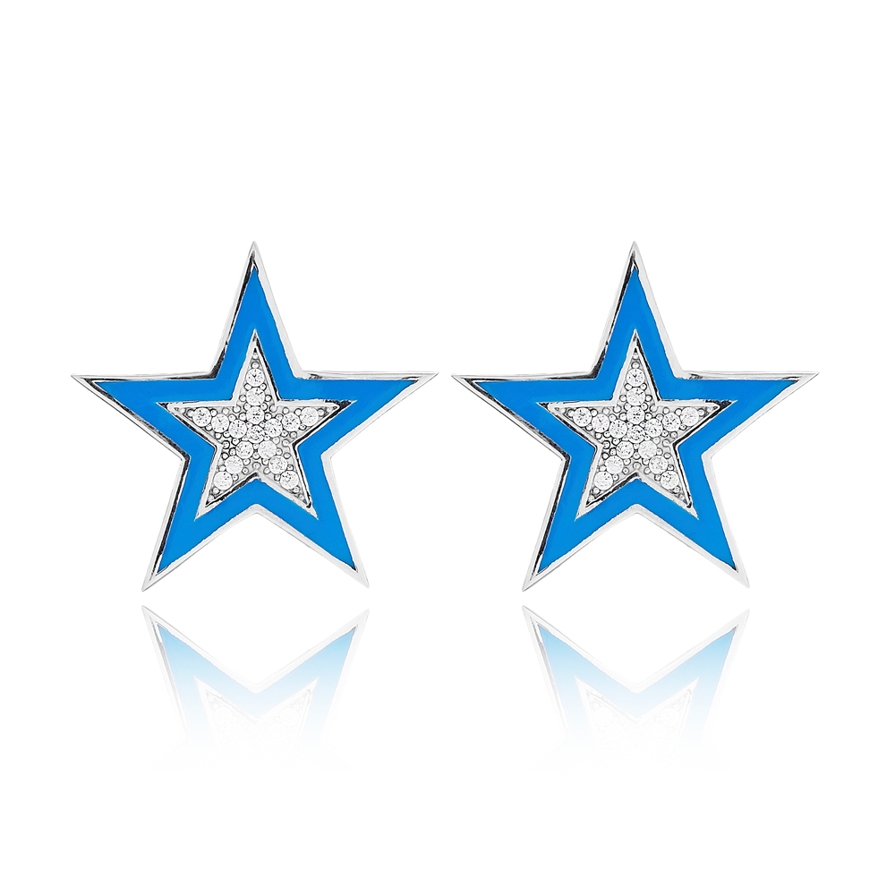 Zircon Stone Blue Enamel Star Design Stud Earrings Turkish Handmade Wholesale 925 Sterling Silver Jewelry
