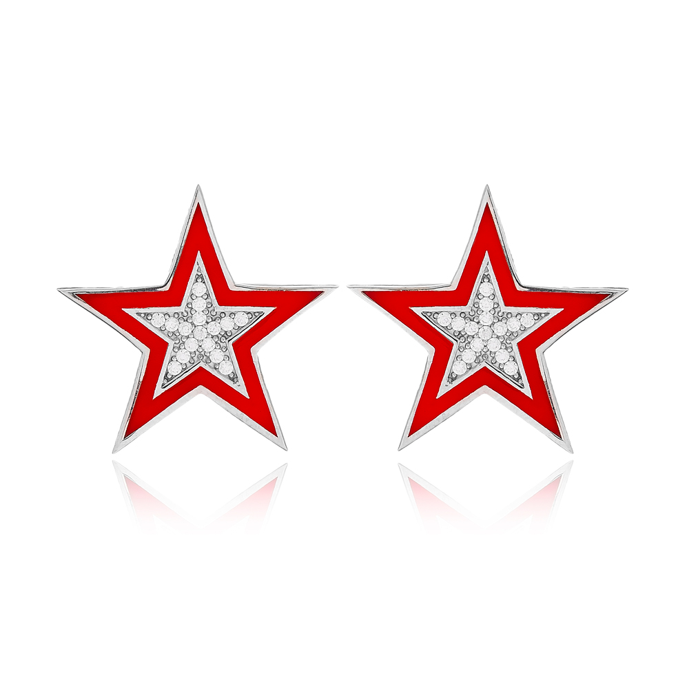 Zircon Stone Red Enamel Star Design Stud Earrings Turkish Handmade Wholesale 925 Sterling Silver Jewelry