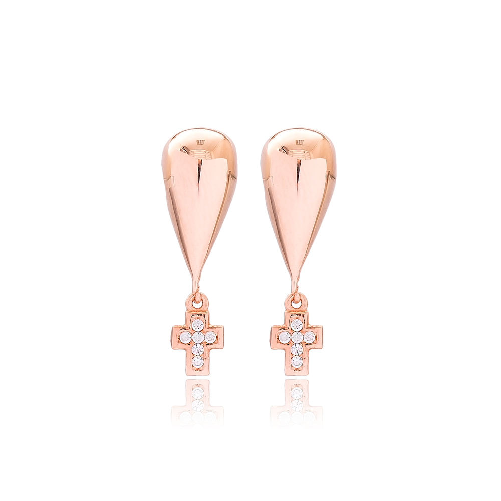 Cross Design Stud Earrings Turkish Handmade Wholesale 925 Sterling Silver Jewelry