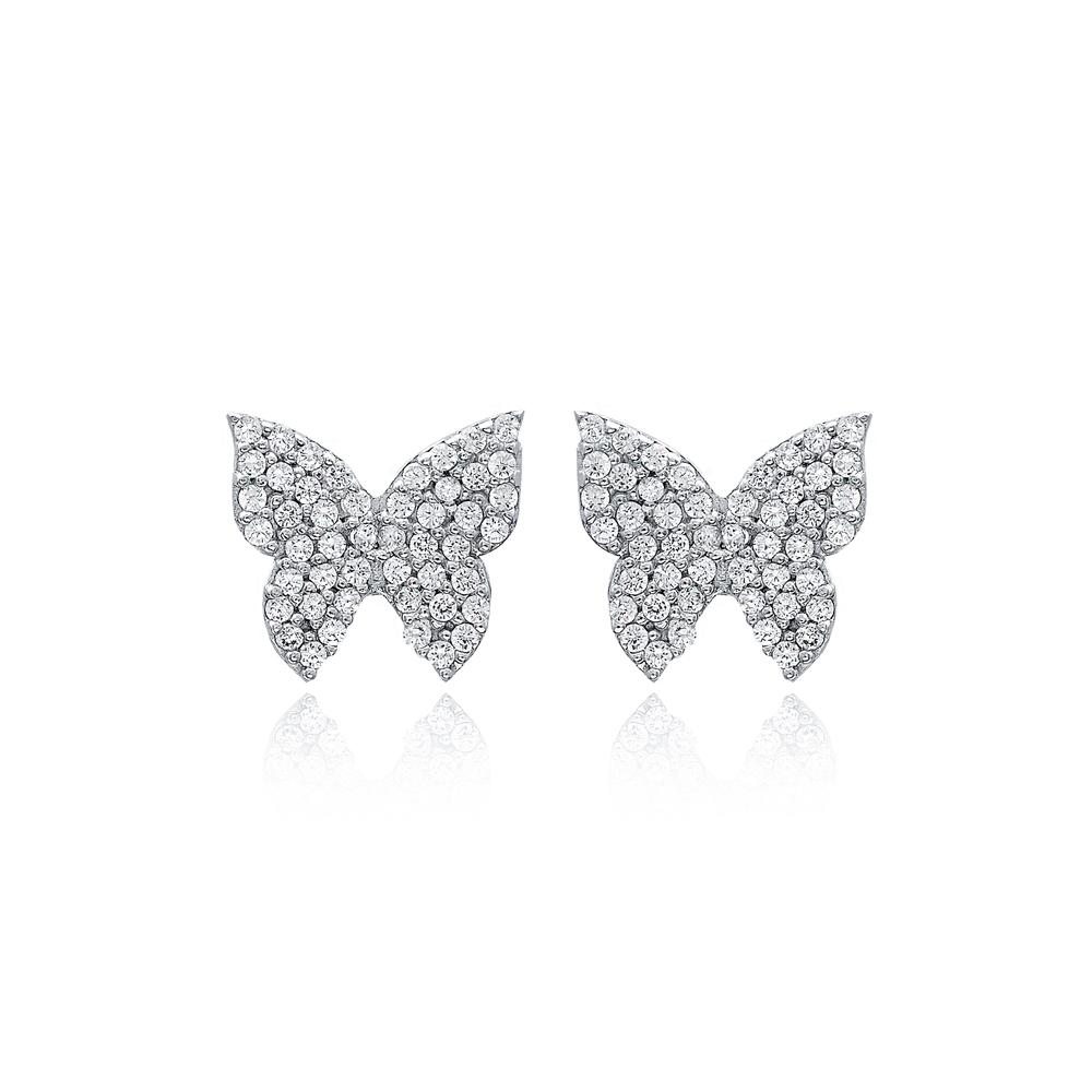 Unique Butterfly Design Stud Earrings Turkish Handmade Wholesale 925 Sterling Silver Jewelry