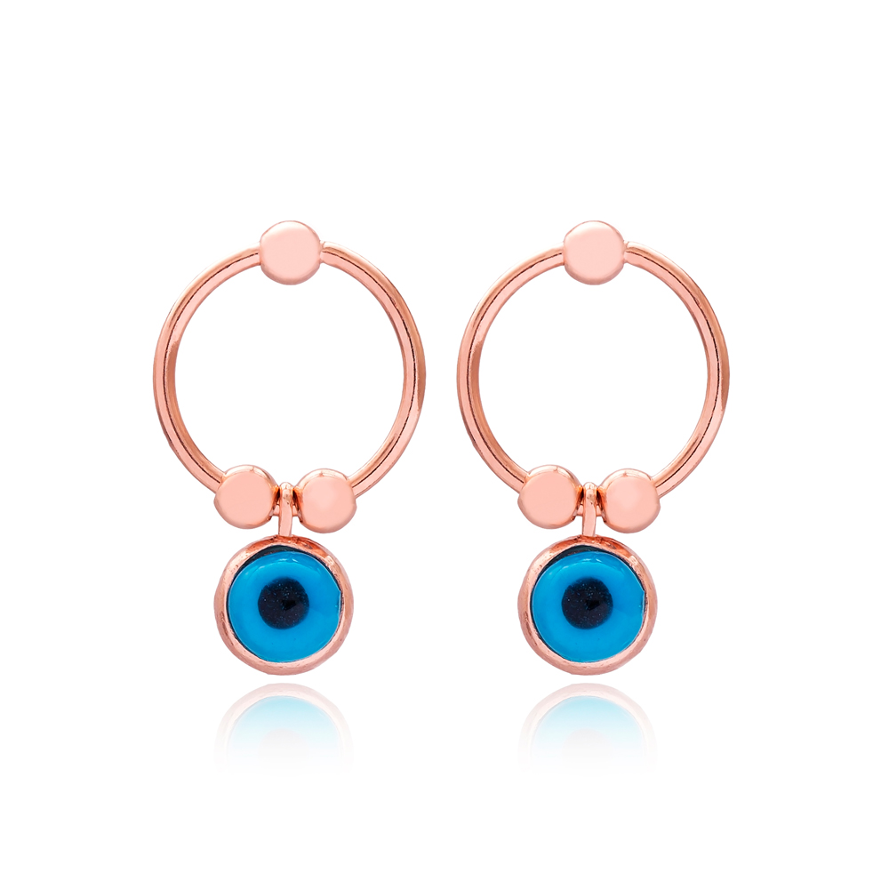 Dainty Evil Eye Design Hollow Earrings Turkish Wholesale 925 Sterling Silver Jewelry