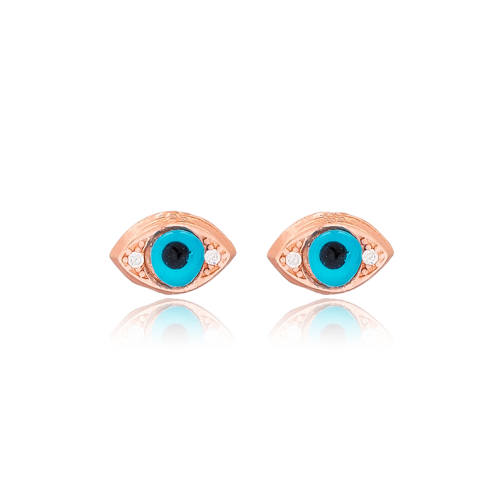 Evil Eye Design Minimal Stud Earrings Wholesale Turkish 925 Sterling Silver Jewelry