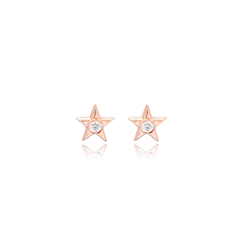 Star Design Minimal Stud Earrings Turkish Wholesale Sterling Silver Jewelry