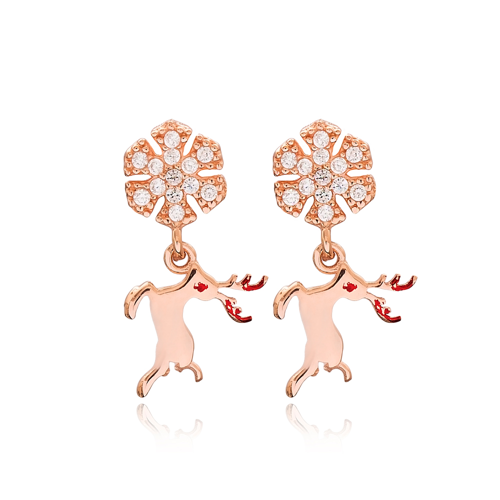 Reindeer Design Elegant Stud Earrings Turkish Wholesale Sterling Silver Jewelry