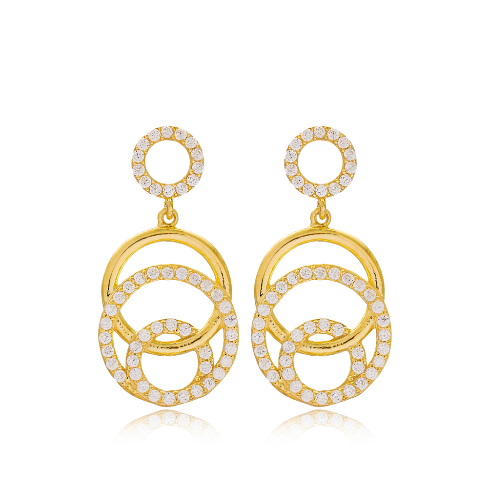 Elegant Round Design Silver Earrings Wholesale Turkish Sterling Silver Jewelry