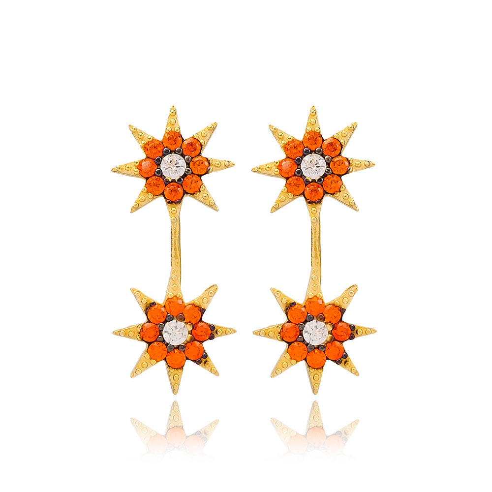 Star Shape Orange Zircon Stone Stud Earring Handcrafted Wholesale Turkish 925 Silver Sterling Jewelry