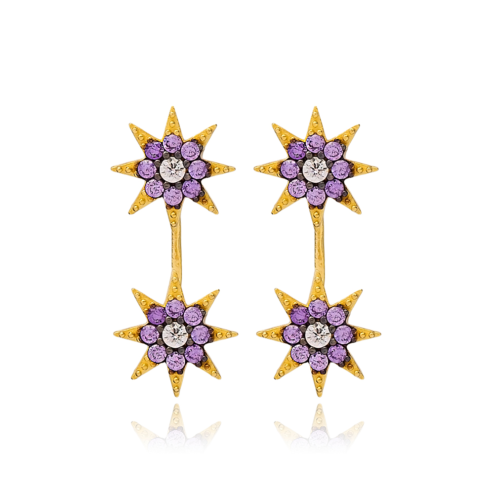 Amethyst Stone Zircon Design Stud Earring Handcrafted Wholesale Turkish 925 Silver Sterling Jewelry
