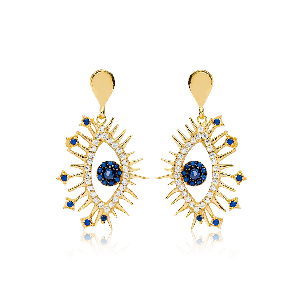 Fashionable Design Evil Eye Charm Sapphire Stone Stud Earrings Wholesale Turkish Handmade 925 Sterling Silver Jewelry