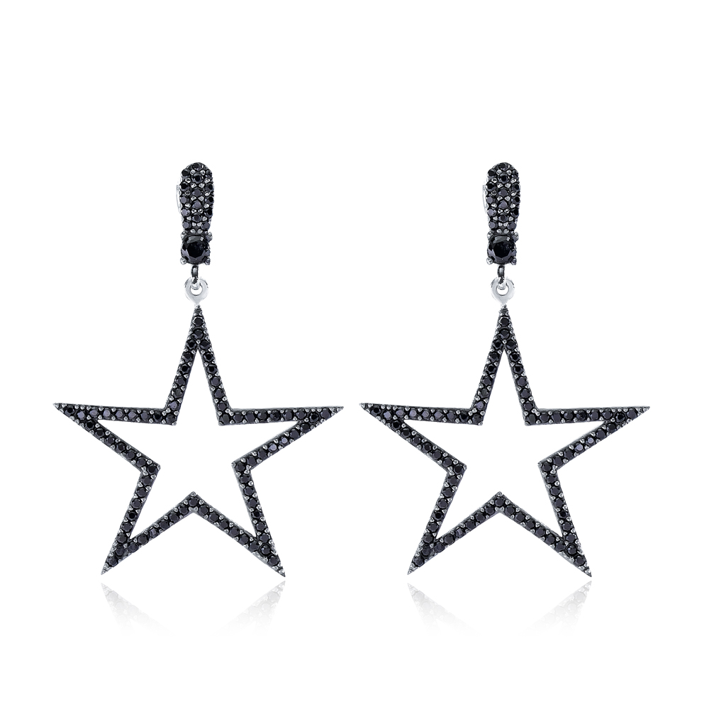 Trendy Star Shape Stud Earrings Wholesale Turkish Handmade 925 Sterling Silver Jewelry