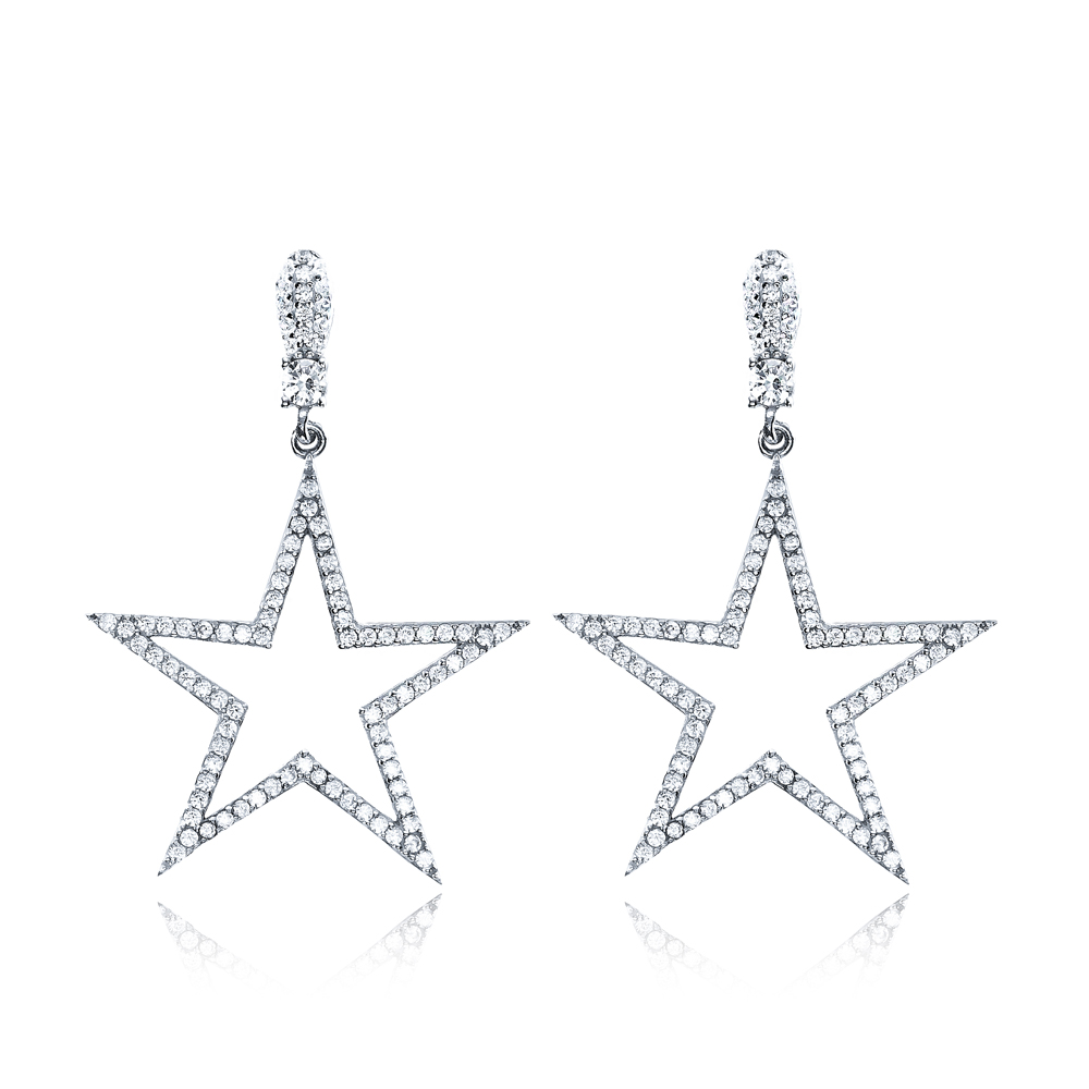 Fashion Star Shape Stud Earrings Wholesale Turkish Handmade 925 Sterling Silver Jewelry