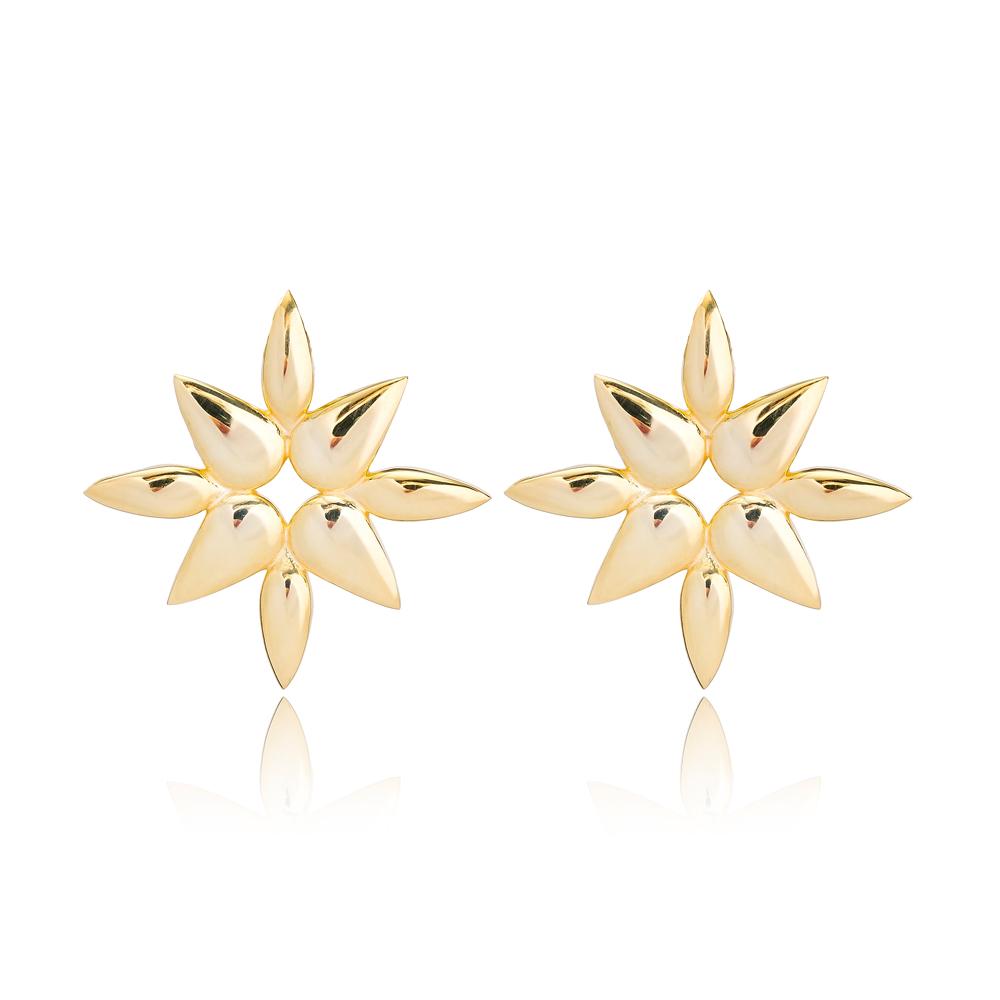 Plain Stud Earring Turkish Wholesale Handmade 925 Sterling Silver Jewelry