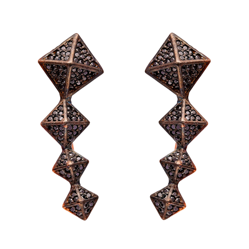 Light Black Zircon Turkish Wholesale Handcrafted Silver Earring