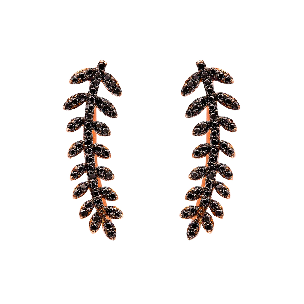 Light Black Zircon Fern Design Turkish Wholesale Handcrafted Silver Earring