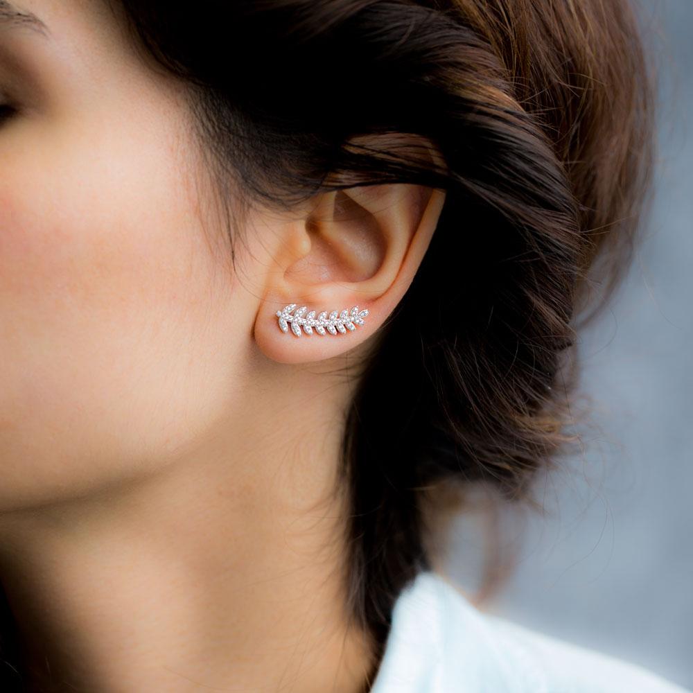 Fern Design Ear Cuff Turkish Wholesale Handcrafted Silver Earring Jewelry