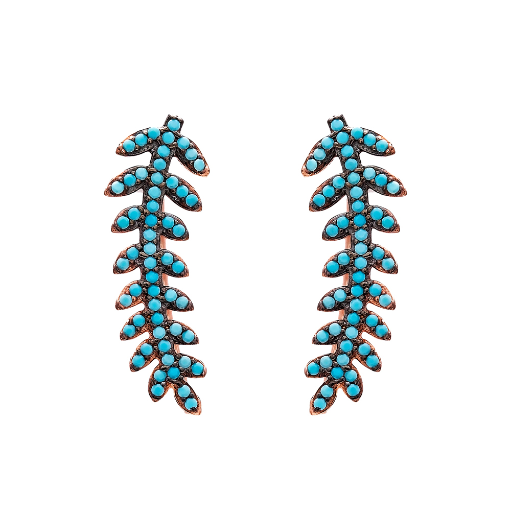 Fern Style Micro Turquoise Ear Cuff Turkish Wholesale Handcrafted Silver Earring
