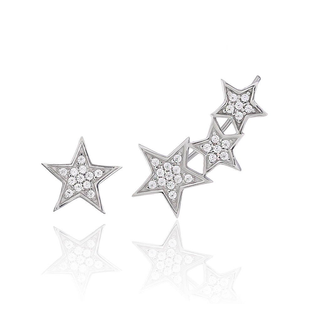 Star Design One Side Turkish Wholesale 925 Sterling Silver Jewelry Stud Earring