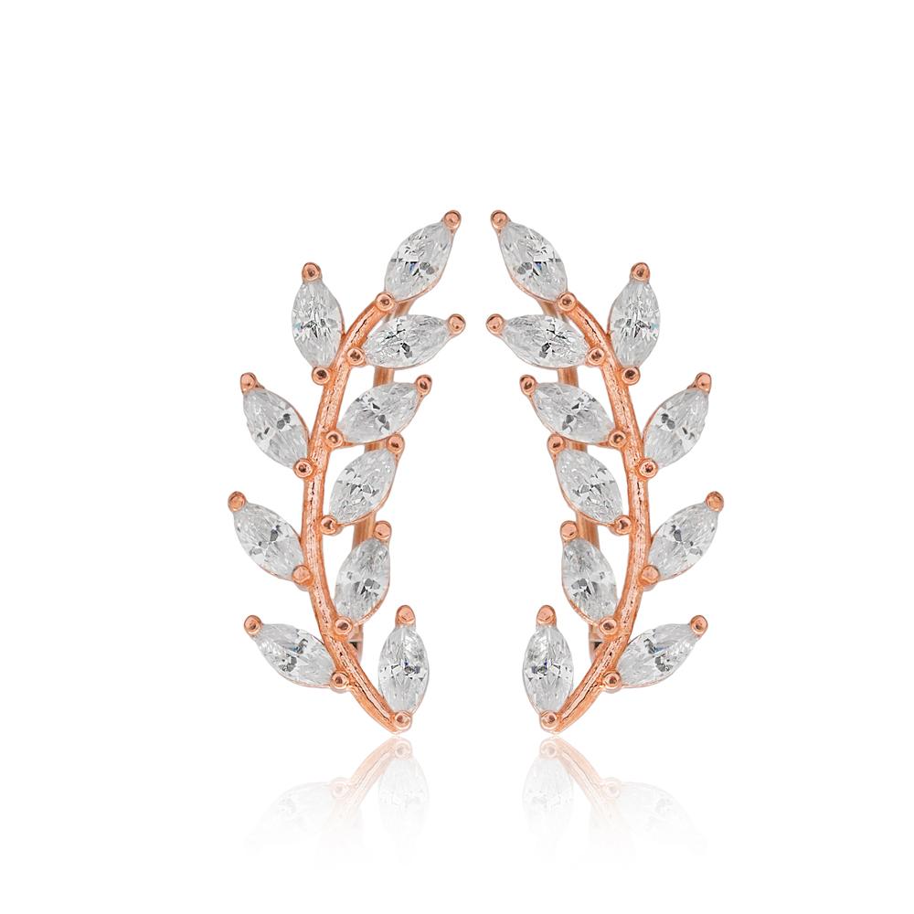 Fashion Leaf Design Earring Turkish Wholesale Handmade 925 Sterling Silver Jewelry