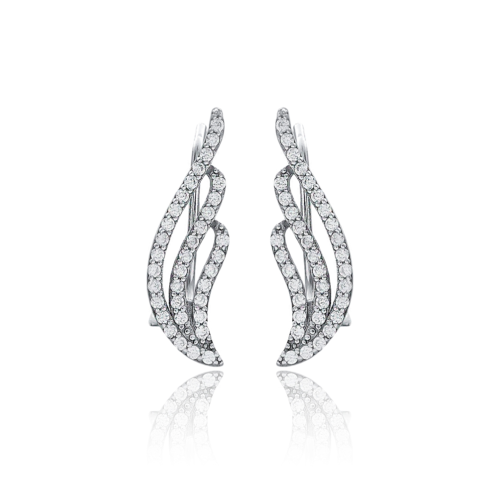Dainty Design Earring Turkish Wholesale Handmade Fashion 925 Sterling Silver Jewelry