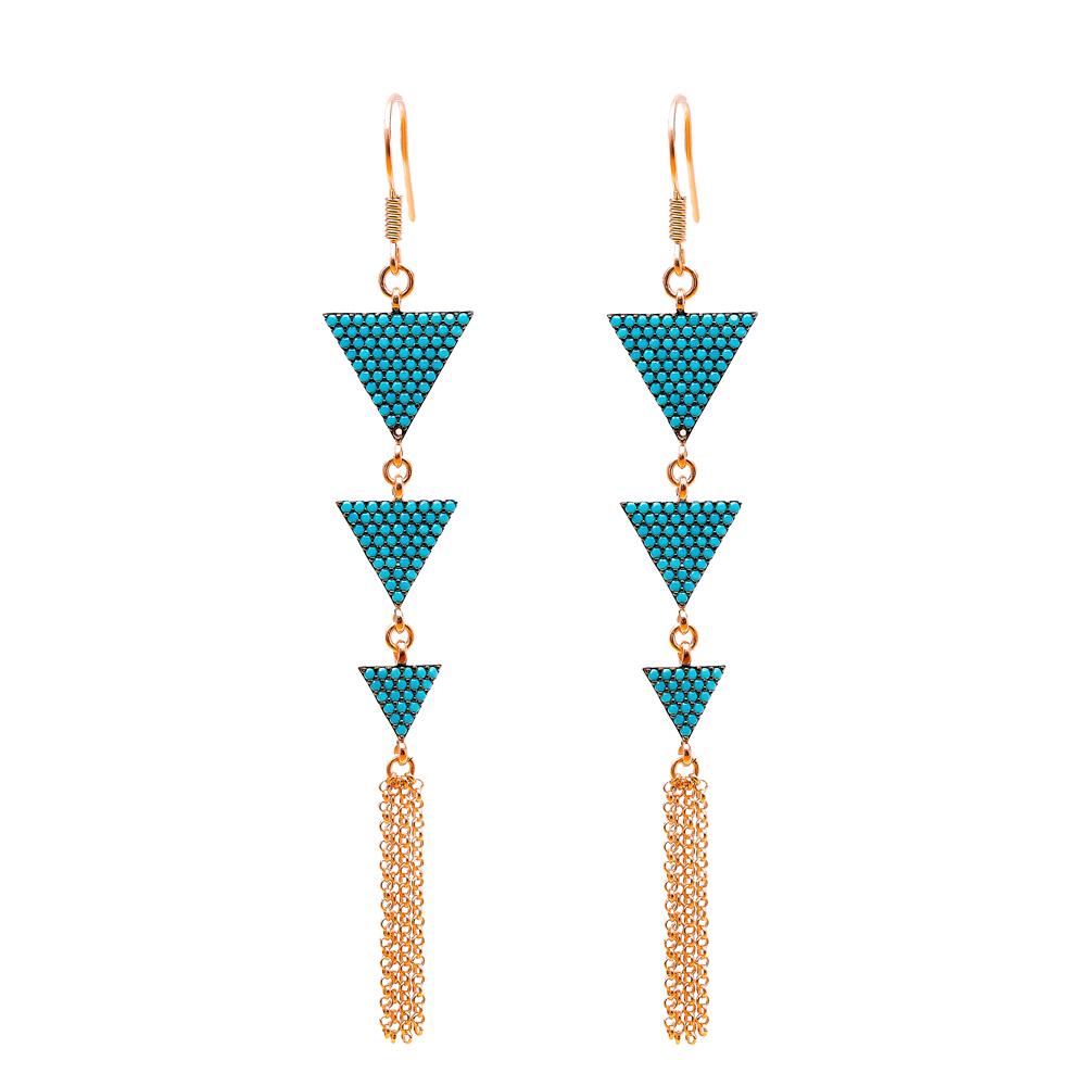 Dangle Earrings Triangle Shape Turkish Wholesale Handmade Sterling Silver Earring