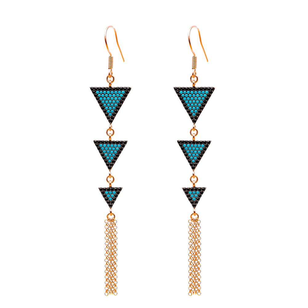 Dangle Earrings Triangle Shape Turkish Wholesale Handmade Sterling Silver Earring