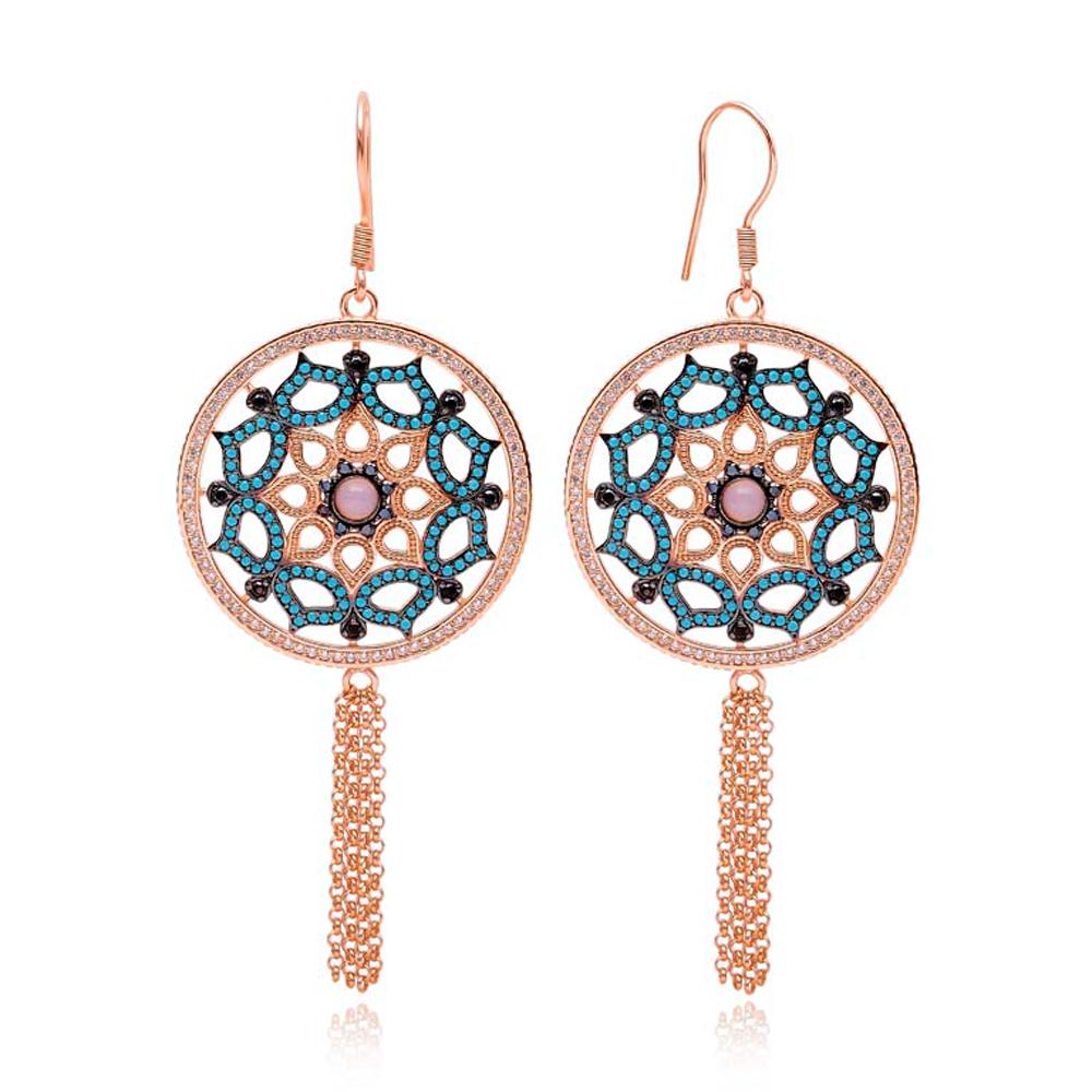 Dangle Tassle Earrings Turkish Wholesale 925 Sterling Silver Earring