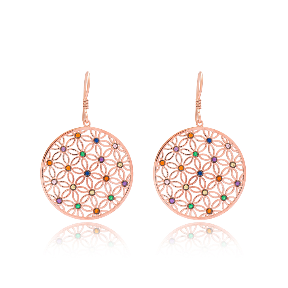 Round Shape Dangle Earrings Turkish Wholesale Handmade 925 Sterling Silver Jewelry