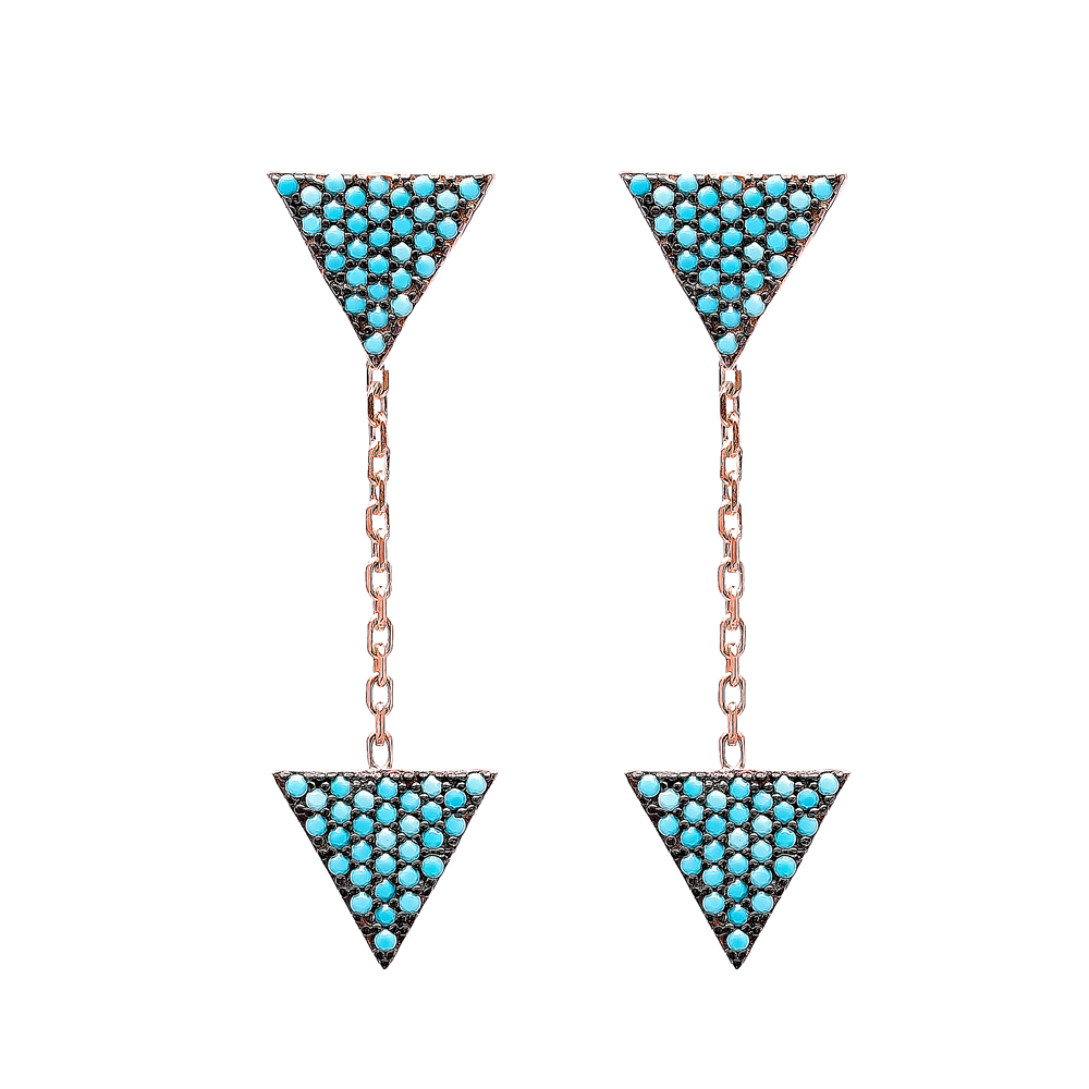 Nano Turquoise Ear Cuff Triangle Design Turkish Wholesale Handcrafted Silver Earring