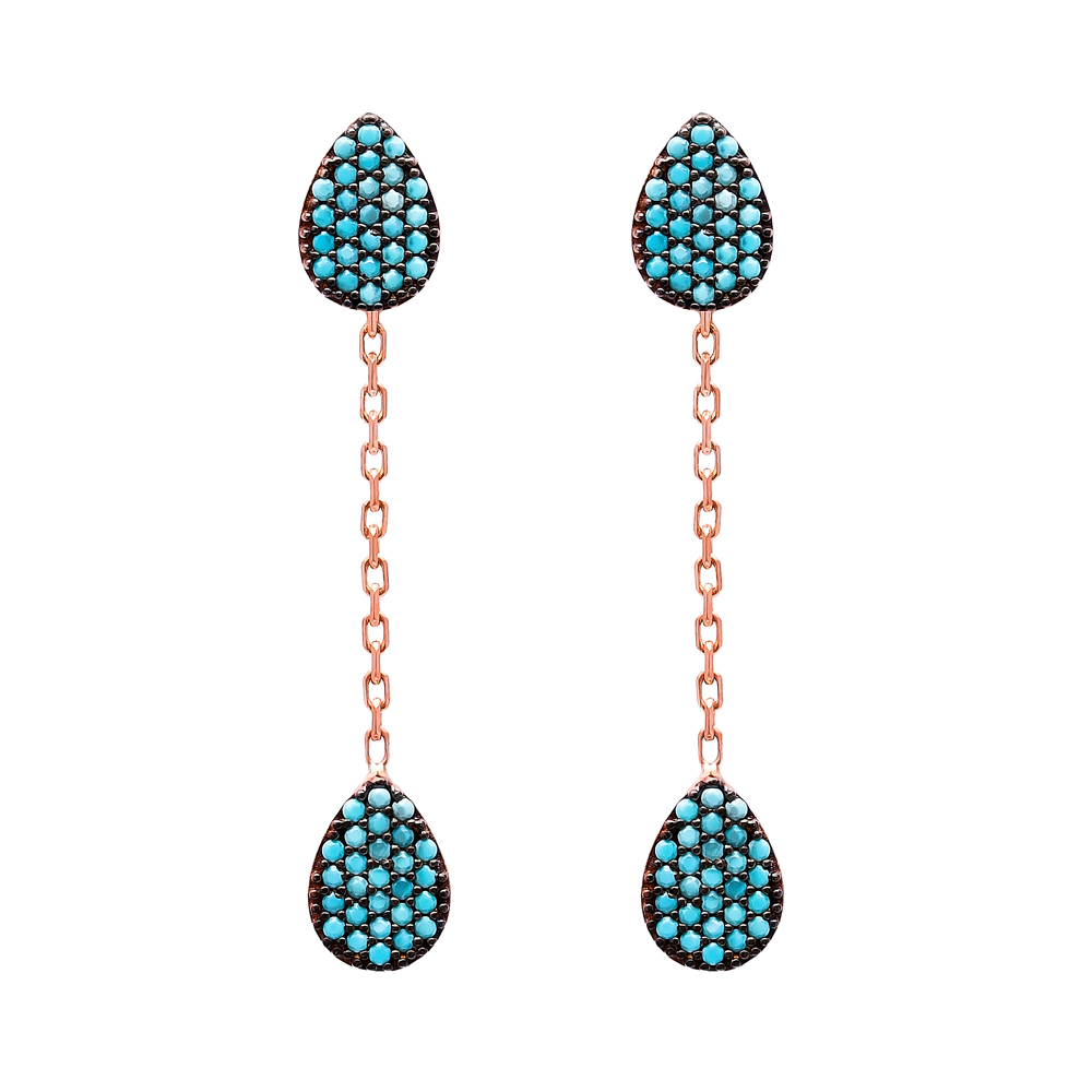 Nano Turquoise Ear Cuff Drop Design Turkish Wholesale Handcrafted Silver Earring