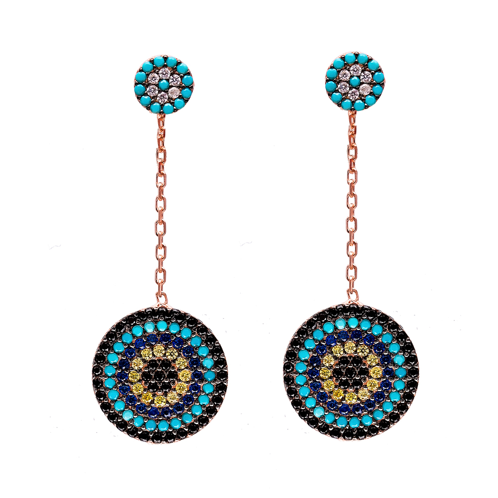 Dangle Evil Eye Design Earrings Turkish Wholesale 925 Sterling Silver Earring
