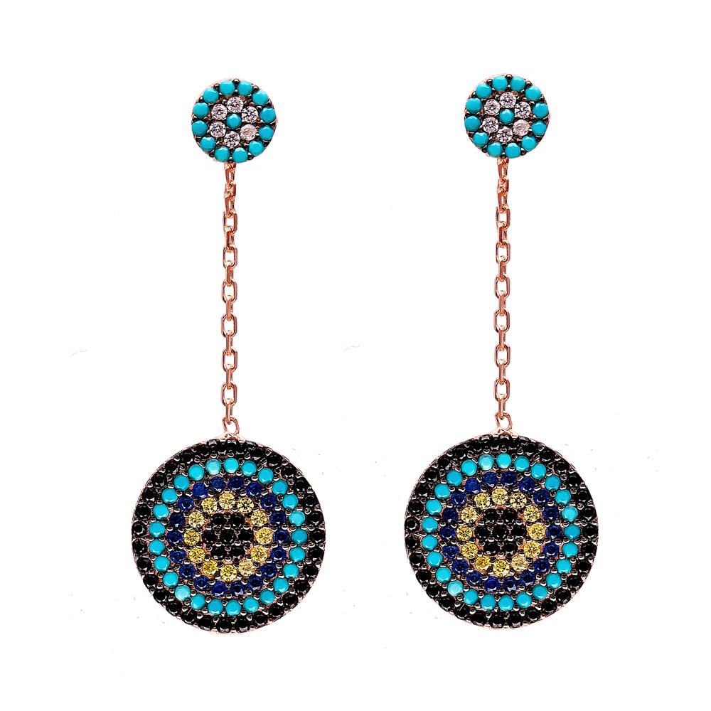 Dangle Evil Eye Design Earrings Turkish Wholesale 925 Sterling Silver Earring