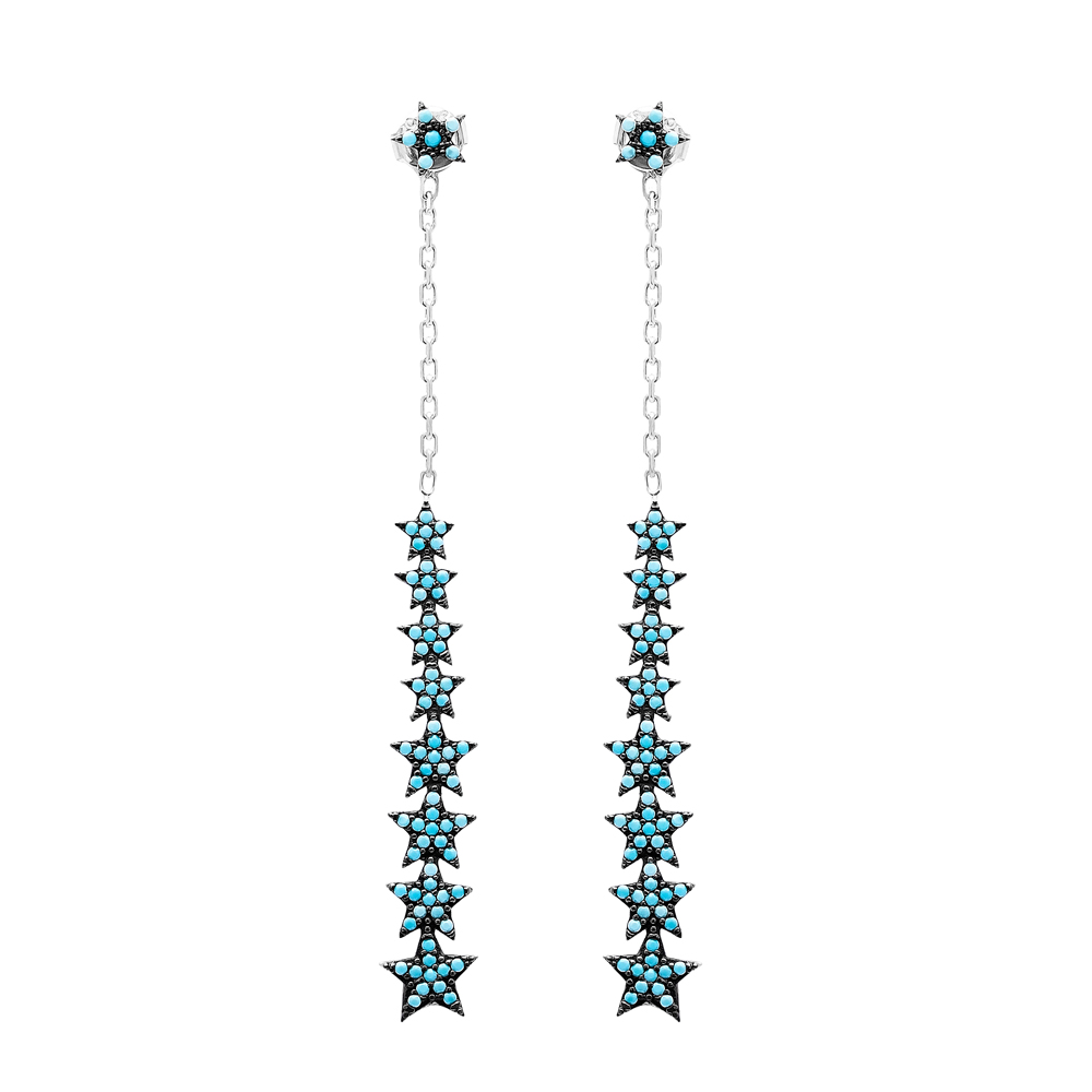 Star Nano Turquoise Dangle Earrings Turkish Wholesale Handmade Sterling Silver Jewelry