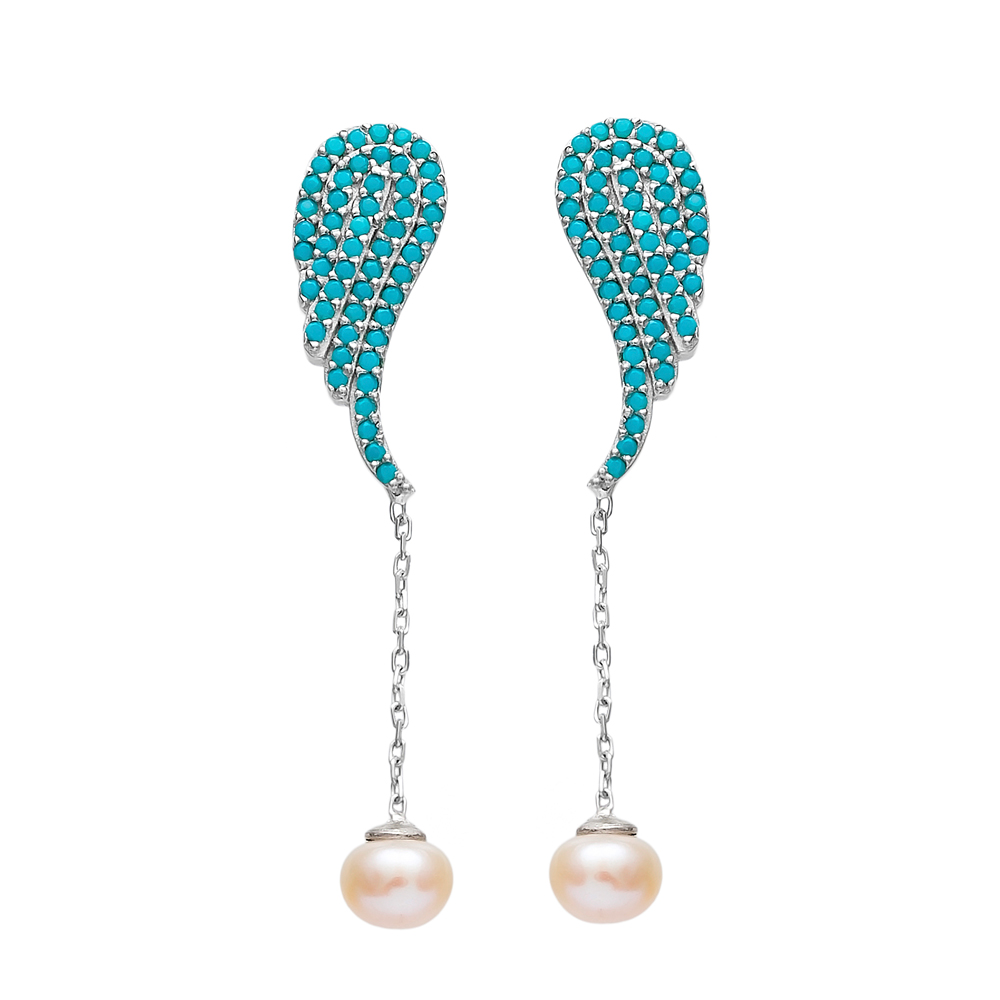 Dangle Pearl Wing Earrings Turkish Wholesale Sterling Silver Earring