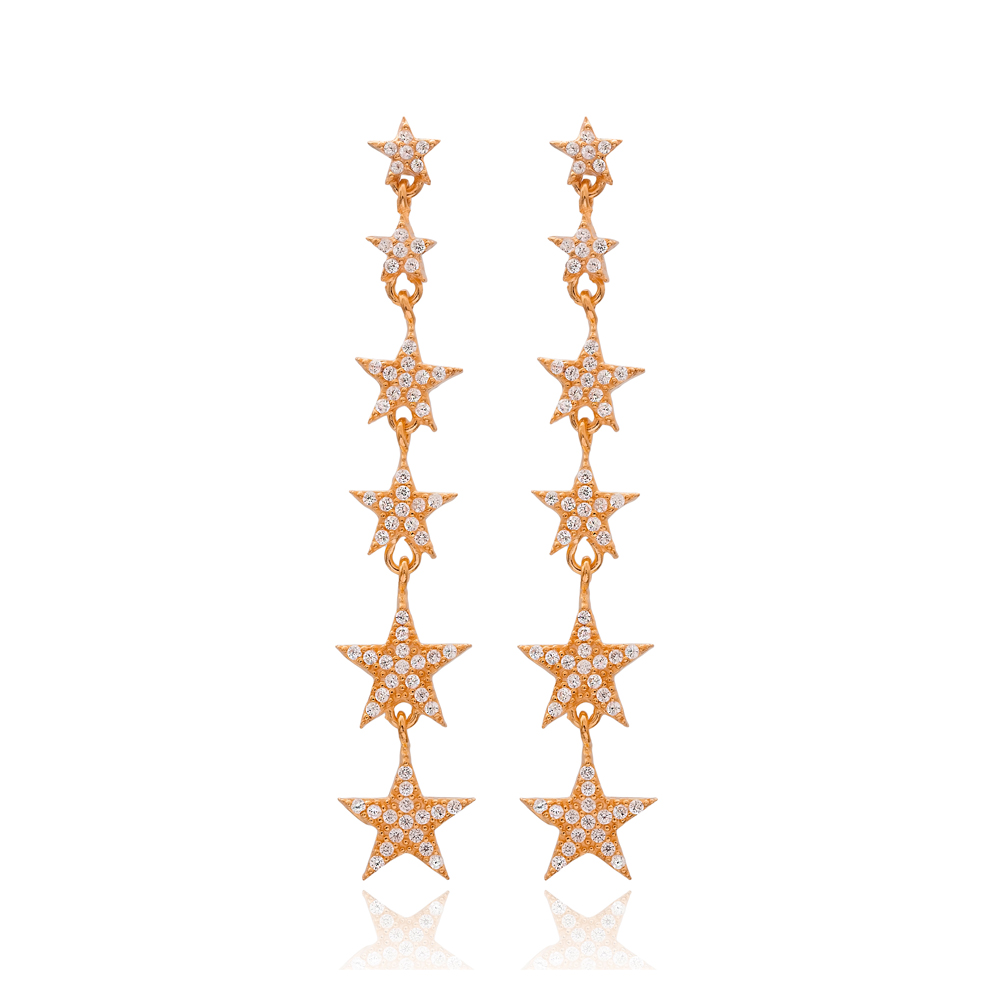 Star Long Earrings In Turkish Wholesale Handmade Sterling Silver Earring