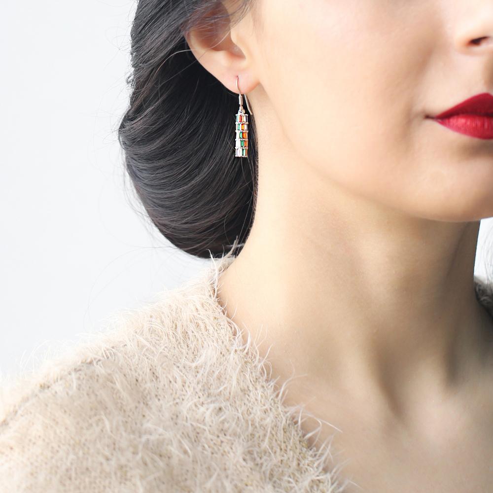 Baguette Shape Stone Silver Earring Wholesale 925 Sterling Silver Jewelry