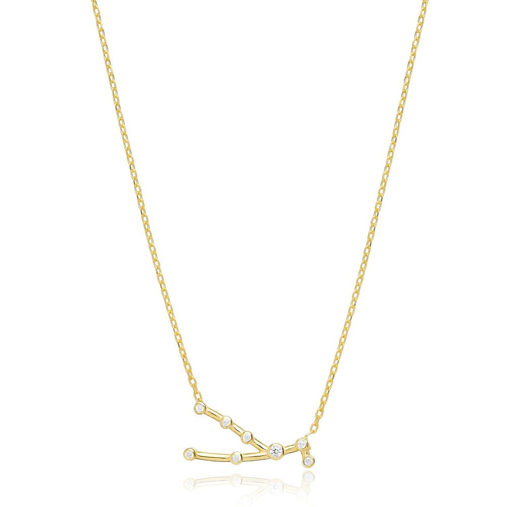Zodiac Taurus Necklace Turkish Handmade 925 Sterling Silver Jewelry