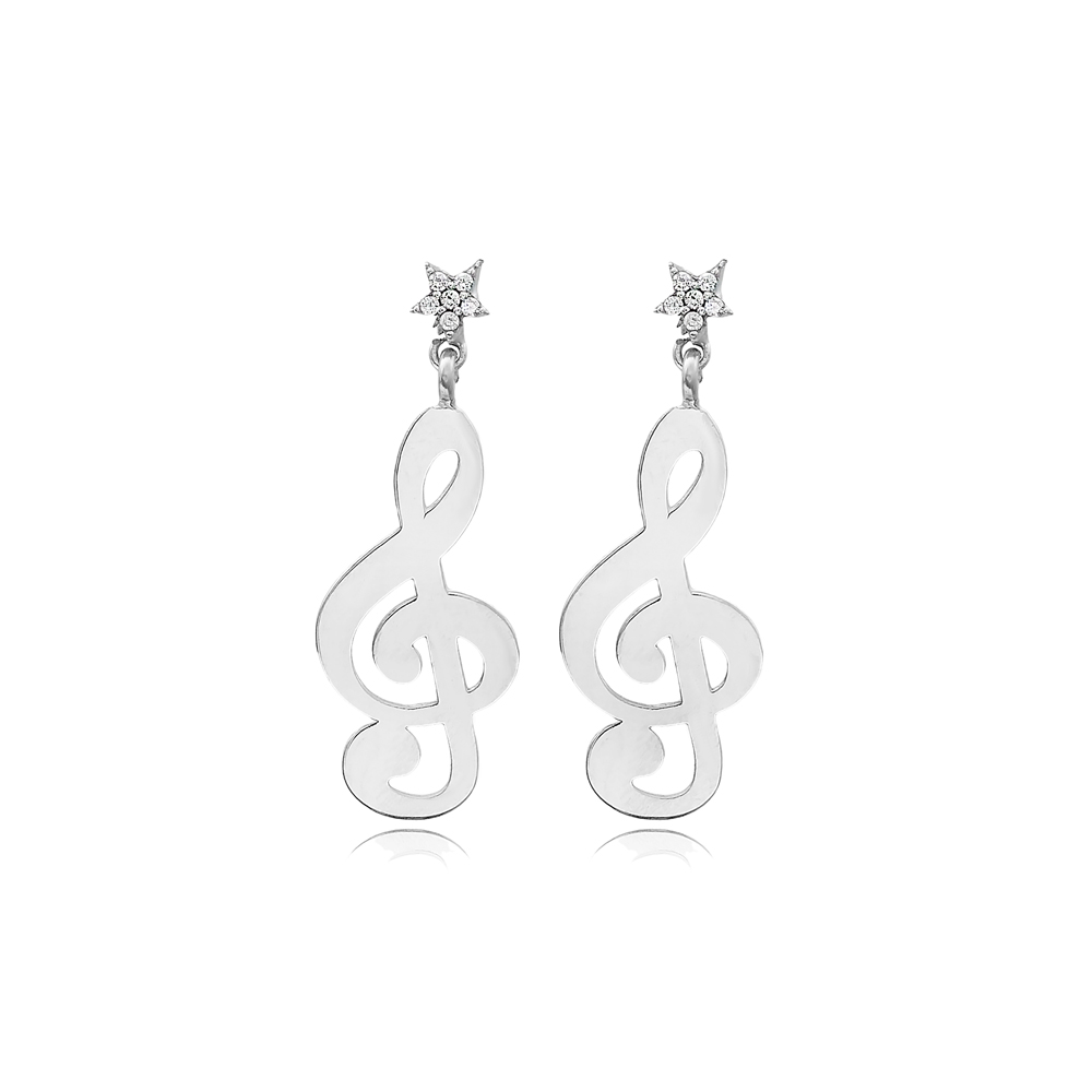 G Clef Shape Design Long Earrings Wholesale Handmade 925 Silver Sterling Jewelry