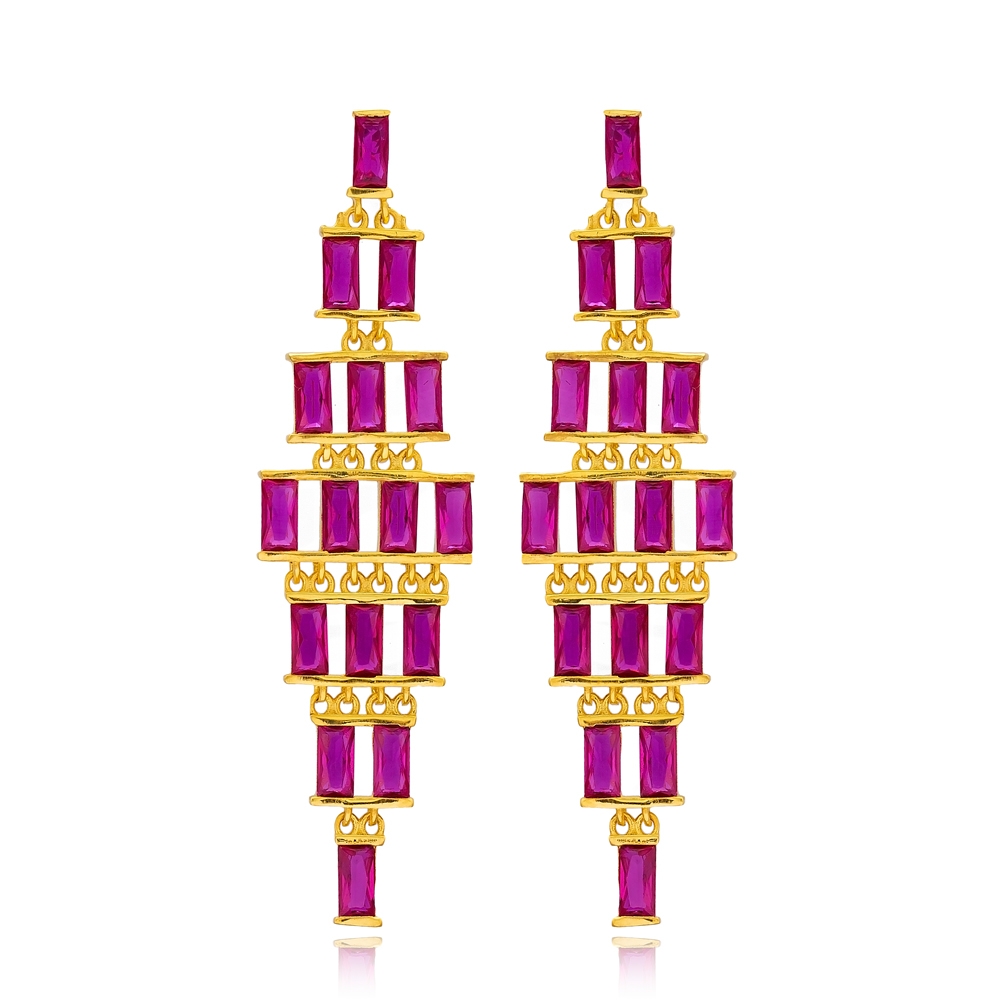 Baguette Ruby Stone Turkish Handmade Wholesale 925 Sterling Silver Long Earrings