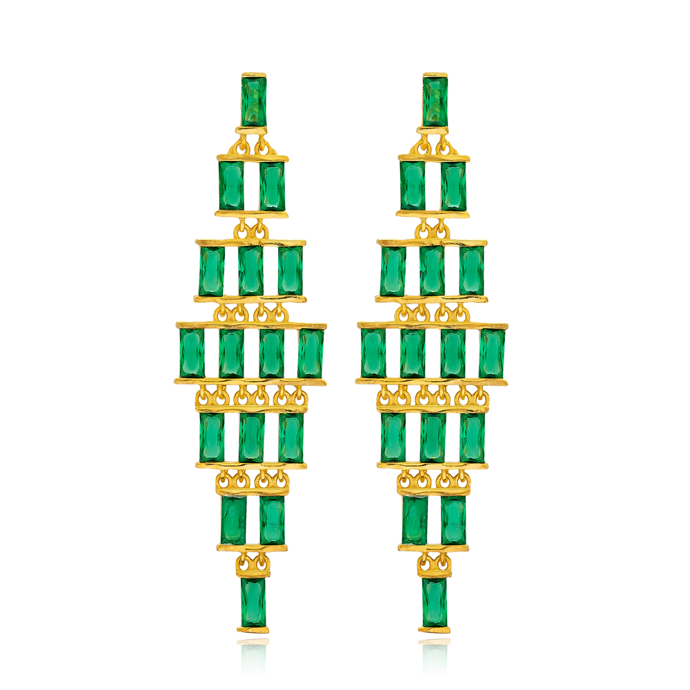 Emerald Stone Baguette Turkish Handmade Wholesale 925 Sterling Silver Long Earrings
