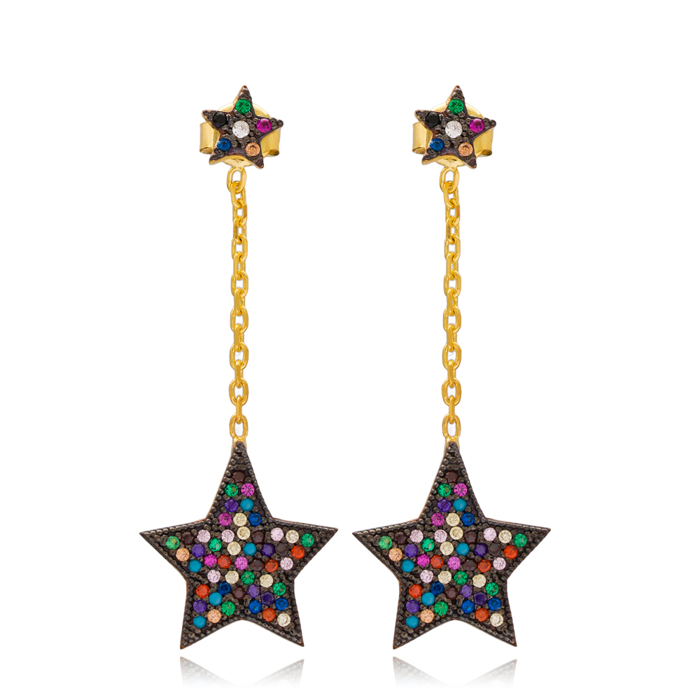 Mix Stone Ear Cuff Star Turkish Wholesale Handcrafted Silver Earring